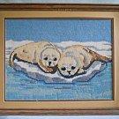 Vintage Needlepoint Seal Pups Cuddling on Iceberg Close Up Winter Landscape
