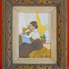 Folk Art Naive Painting Victorian Woman Vintage Sewing Machine G. Morischer