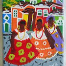Original  Vintage Folk Naive Outsider Painting  Black Women Colonial Brazil Teka