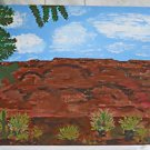 Arizona Vintage Naive Folk Outsider Painting Grand Canyon Western Landscape B.K.