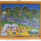 Folk Vintage 60s Painting Tanzania Peace Corps Animals Fish Land Rover Nipela