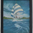 Vintage Folk Painting Sailboat Tiny Sailors American Flag Ripping Wind T. Wright