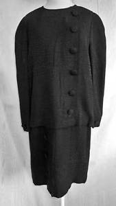 Adele Simpson LBD Chemise Dress Deadstock Vintage 80s Nos Dropped Waist Black 14