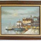 Naive Vintage Moody Painting Boat Harbor Town Work Sailboats Quay Women Searing
