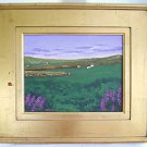 Vintage Folk Art Naive Painting Texas Cattle Ranch Cows West Rolling Hills Ames