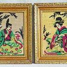Hollywood Regency Japanese Vintage Needlepoint Pair Geisha Samurai Frame Gilded