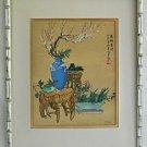 Vintage Painting  Japanese Ceramics Floral Still Life Signed Cali Bamboo Frame