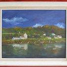 Folk Art Machiko Vintage Painting Naive Village Tiny People Dog Fishing Mountain
