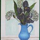 Painting Vintage Iris Blue Pot Window Still Life Flowers Shirley Cataldi 94