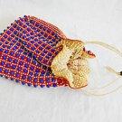 Vintage Cherri Hong Kong Hand Bag Red White Blue Beaded Bucket Drawstring Purse