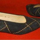 Vintage Suede Gold Overstitched Norma B Flats Shoes Pumps Ballet High Vamp 6