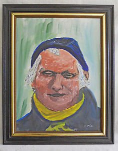 Outsider Art Folk Naive Vintage Marine Painting Huge Red Fat Red Face Sailor