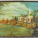 L D Wells Vintage 50s Mid Century Modern Original Painting New England Church