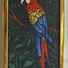 Vintage Painting J Martinez Parrot Ornithology Bird Tropical Red Blue Yellow