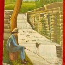 Salmon Ladder Fishing Vintage Folk Landscape Painting Washington Farmer Wood