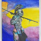 Folk Outsider Vintage Original Painting Knight in Armour Urbay 79 Cabellero Gero