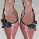 Prada Pink Black Leather Pointy Toe Mules Shoes Kitten Heel Flowers Leather 39