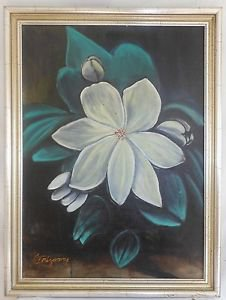 Camellia Vintage Painting Anatomy White Flower Original Oil Trazarry Botanical