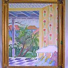 Vintage Naive Folk Painting Tropical Victorian Porch The Guest House Sea Merwin
