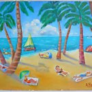 Tropical Vintage Folk Naive Painting Beach Tiny People Tanning Drinking Kwart