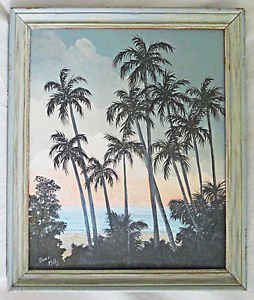 Folk Art Tropical Vintage Painting Thru Palms To beach Ocean Sunrise Birds Mills