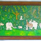 Animals Vintage Folk Naive Painting Elephant Pig Rabbit Rhinoceros Owl  Monahan