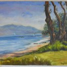 California Folk Art Lake Tahoe Painting Western Plein Air Regatta Sailboats Owen