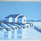 Folk Naive Cubist Vintage Painting Monochromatic Blue on Blue Chunky House Ocean