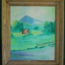 Western Landscape Vintage Painting Isolated Ranch Mountain Fields Copus 77