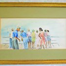 Vintage Modernist Naive Painting Watercolor Summer Tourists on Pier S Joffe