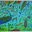 Folk Art Outsider Naive Sea Life Painting Underwater Turtle Fish Abstract