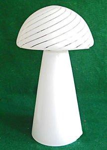 """Modernist Vintage Murano White Mushroom Lamp Stripe Glass Shade Venetian 14"""""""