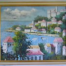 Vintage Original Painting Seaside Mediterranean Port Village Landscape Dramatic