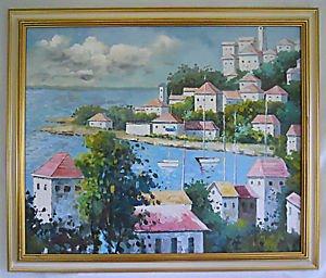 Vintage Original Painting Seaside Mediterranean Port Village Landscape Dramatic