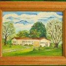Vintage Ranch House Painting Frame Oil A K Weitecki Suburban Landscape 70s Mod