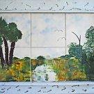 Vintage Southern Outsider Folk Florida Tiles Painting Dicker Everglades Hammock