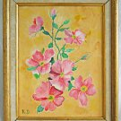 Botanical Anemone Vintage Painting Flowers Pink  Still Life Gilded Frame  R.D.