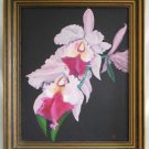 Vintage Painting Orchids Purple Violet Still Life Flowers Gothic Black Frame LD