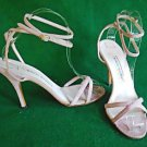 Manolo Blahnik Sandals Ankle Wrap Stiletto Strappy Shoes High Pink Suede 38