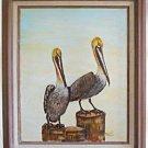 Folk Art Naive Ornithology Vintage Painting Pelicans Florida Birds Lawrence