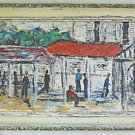 Folk Art Vintage 50s Painting Black Shanty Town Hurrying Figures Modernist Stein
