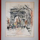 Vintage John Haymson New York Ink Watercolor Washington Square Street Life Frame