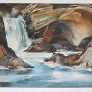 Vintage Painting Rocky Waterfall Landscape Folk Cubist Watercolor Moderne Kinel