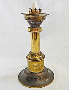 Vintage Electric Brass Oil Table Ship Lamp Modernist Denmark Harnisch Converted