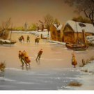 Vintage Giclee Print of Painting Canvas Ice Skating Holland Frozen Canal R Smith