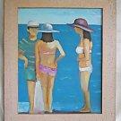 Vintage Modernist Naive Painting Bikini Girls on Beach Chatting Up Guy Carter