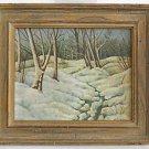 Antique Vintage 1954 Painting Winter Snow Landscape Modernist H Selkirck Framed