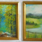 California Mt Shasta Naive Pair Vintage Paintings Western Landscape Kathy Bell