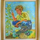 Folk Art Vintage Painting Boy Field Caterpiller Butterfly Hunting Net Jar Dunst