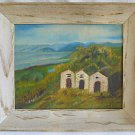 Western Folk Art Naive Vintage Painting 3 Tiny Stone Houses Wilderness Landscape